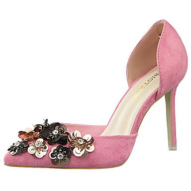 Damen Schuhe Wildleder Frühling Sommer Herbst Komfort High Heels Stöckelabsatz Kristall Schnalle Blume für Hochzeit Grau Fuchsia Rot Rosa