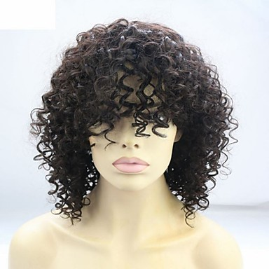 인모 전면 레이스 가발 아프리카 사람 / Kinky Curly 1백80% 밀도 자연 헤어 라인 / 흑인 가발 / 100% 핸드 타이드 보통 여성용 인모 레이스 가발 / 킨키 곱슬