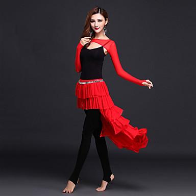 ריקוד בטן תלבושות בגדי ריקוד נשים הופעה צורני טול עטוף שרוול ארוך טבעי אפוד עליון חצאית מכנסיים