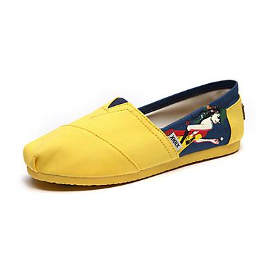 Feminino-Rasos-Arrendondado-Rasteiro-Azul / Amarelo-Lona-Casual