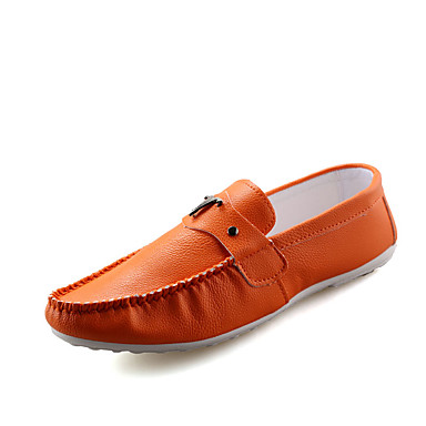 Herren Flache Schuhe Cloggs & Pantoletten PU Frühling Herbst Normal Walking Flacher Absatz Weiß Schwarz Orange