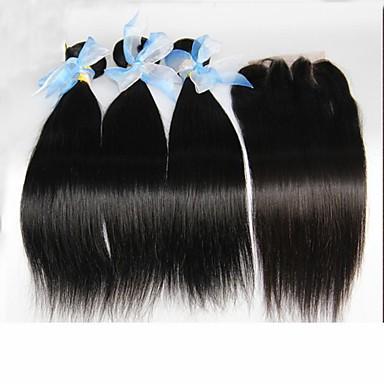 4шт много перуанских прямо девственные волосы с закрытием 3bundles необработанный перуанских человеческих волос ткать с закрытием 1шт