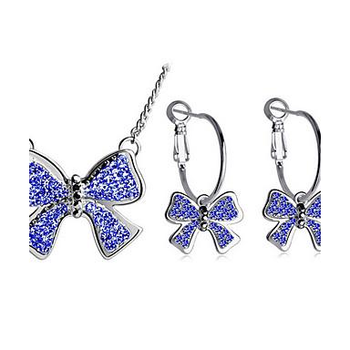 Damen Synthetischer Diamant Schmuck-Set - Strass Schleife Doppelschicht, Modisch Einschließen Halskette / Ohrringe Dunkelblau / Purpur Für Alltag Normal / Halsketten