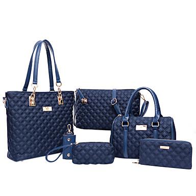 Women's Bags PU(Polyurethane) Tote / Satchel / Clutch 6 Pieces Purse Set Purple / Fuchsia / Blue / Bag Sets / Bag Set