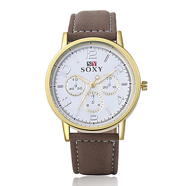 Herrn Armbanduhr Armbanduhren für den Alltag Leder Band Charme / Modisch Braun / Edelstahl