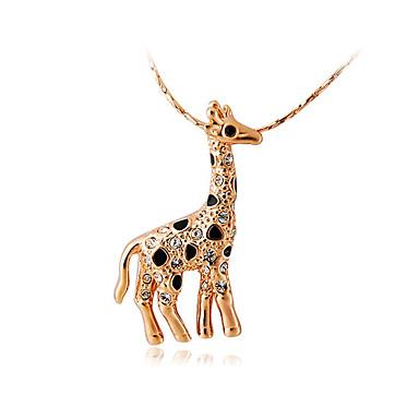 Homens Feminino Colares com Pendentes Cristal Formato Animal Veado Girafa Cristal Zircônia Cubica Liga Moda Adorável Jóias Para Casamento