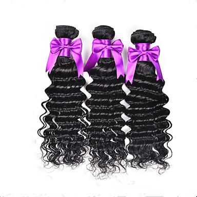 Cheveux humains Cheveux Brésiliens Tissages de cheveux humains Ondulation profonde Extensions de cheveux 3 Pièces Couleur naturelle