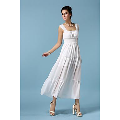 Mulheres Bainha / Chifon Vestido,Casual Simples Sólido Sem Alças Longo Sem Manga Branco / Preto Outros Todas as Estações