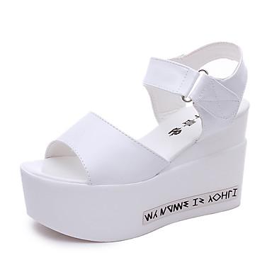 Feminino Sapatos Courino Verão Sandálias Salto Plataforma Vazados para Casual Festas & Noite Branco Preto Prata
