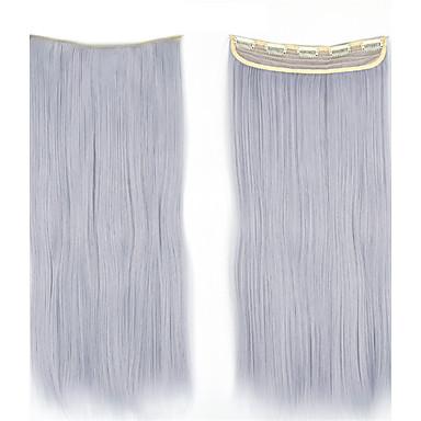 5クリップが使用可能な色のヘアピースをスライスして合成ストレートヘアエクステンション上でクリップ60センチメートル120グラムの1pcs /ロット