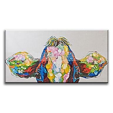 מצויר ביד בעלי חיים אופקי,קלסי ים- תיכוני פסטורלי סגנון ארופאי מודרני מסורתי ריאליסטי בד ציור שמן צבוע-Hang קישוט הבית פנל אחד