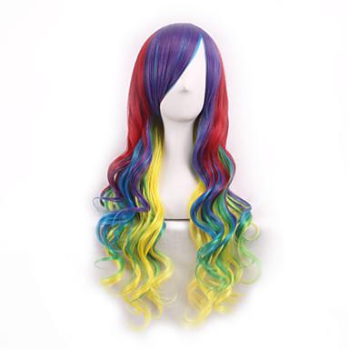Cheveux Synthétiques Perruques Bouclé Cheveux Colorés Sans bonnet Perruque Lolita Perruque de Cosplay