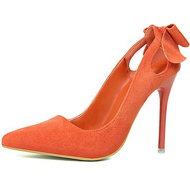 Damen Schuhe Wildleder Frühling Herbst High Heels Stöckelabsatz Schleife für Hochzeit Schwarz Orange Grau Rot Rosa