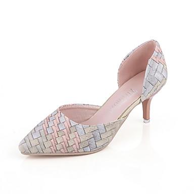 Femme Chaussures Similicuir Eté Sandales Talon Aiguille Creuse pour Décontracté Soirée & Evénement Argent Orange
