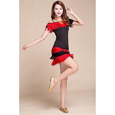Tenue(Rouge,Satin soyeux élastique,Danse latine)Danse latine- pourFemme Frange (s) Spectacle Danse latine Taille haute