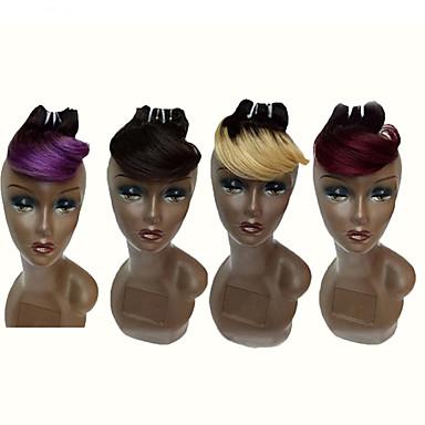 baratos Extensões de Cabelo Natural-4 pacotes Cabelo Brasileiro Onda de Corpo 10A Cabelo Virgem Âmbar 8 polegada Âmbar Tramas de cabelo humano Extensões de cabelo humano
