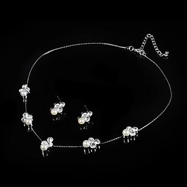 Damen Perle Schmuck-Set Ohrringe Halsketten - Niedlich Party Künstliche Perle Silber Braut-Schmuck-Sets Halskette / Ohrringe Für Hochzeit