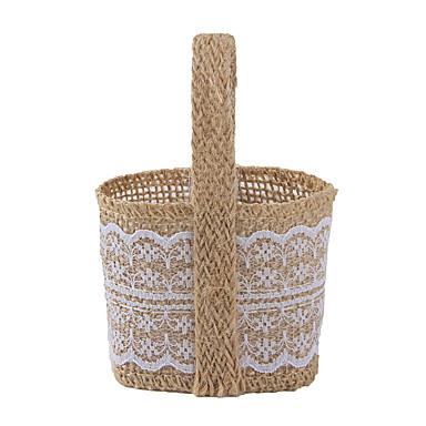 Cesta Yute Soporte para regalo  con Bolsos de regalos Cubetas de recuerdo - 6