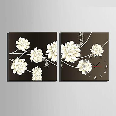 מודרני / עכשווי פרחוניים/בוטניים שעון קיר,ריבוע קנבס40 x 40cm(16inchx16inch)x2pcs/ 50 x 50cm(20inchx20inch)x2pcs/ 60 x