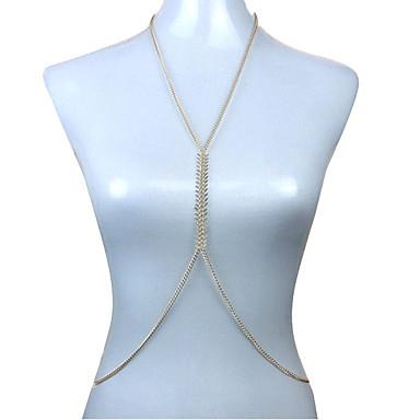 בגדי ריקוד נשים תכשיטי גוף שרשרת בטן שרשרת גוף / בטן שרשרת סקסי אופנתי ארופאי ציפוי זהב תכשיטים עבור יומי קזו'אל