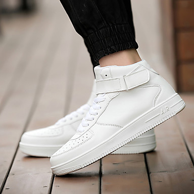 Men's Shoes Leatherette Spring Fall Comfort Lace-up for Casual White Black Black / White