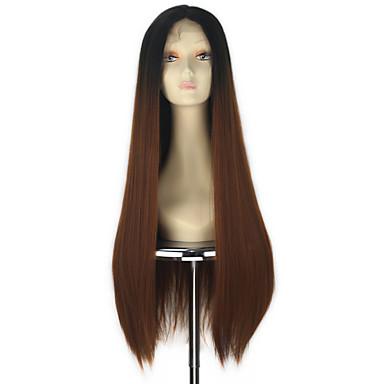 Femme Perruque Synthétique Lace Front Raide Droit crépu Cheveux Colorés Perruque Déguisement