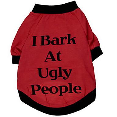 Cachorro Camiseta Roupas para Cães Carta e Número Vermelho Algodão Ocasiões Especiais Para animais de estimação Homens Mulheres Fashion