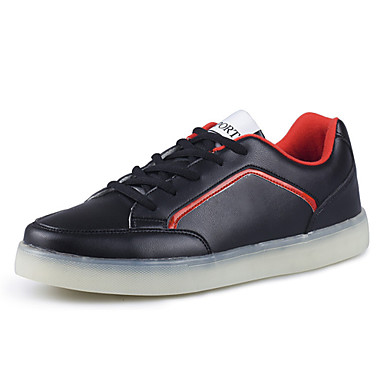 Herren-Flache Schuhe-Outddor Lässig-PU-Flacher Absatz-Komfort-Schwarz Rot Weiß