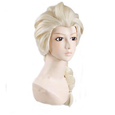 angelaicos vrouwen prinses sneeuwkoningin elsa weven vlecht lang lilght blonde lolita Halloween kostuum cosplay volledige pruik