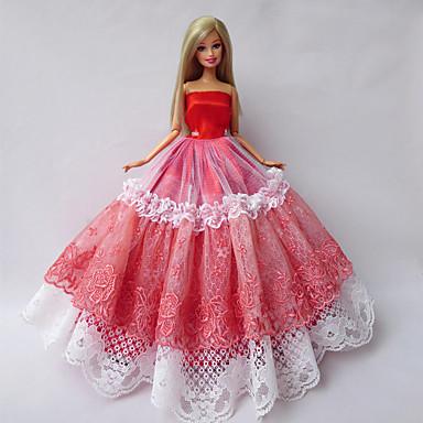 Princesa Vestidos Para Boneca Barbie Renda Cetim Vestido Para Menina de Boneca de Brinquedo