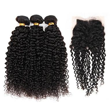 Trama del pelo con cierre Cabello Brasileño Rizado rizado 4 Piezas los tejidos de pelo