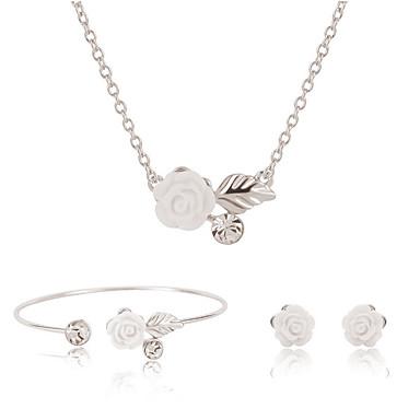 Mulheres Conjunto de jóias - Flor Incluir Colar / Pulseira / Colar / Brincos Prata Para Casamento / Festa / Diário / Colares / Bracelete