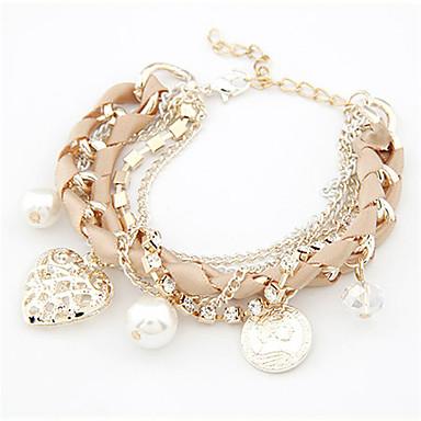 abordables Bracelet-Breloque Charms Bracelet Femme Perle Imitation de perle Cœur dames Mode Bracelet Bijoux Beige Rose Bleu clair Forme Géométrique pour Quotidien