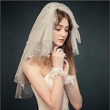 Quatro Camadas Corte da borda Véus de Noiva Véu Ruge Véu Cotovelo Com Pérolas Tule