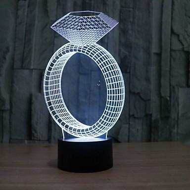 מנורת לילה מנורת 3d אשלית שולחן מדהימה עם צורת טבעת יהלום עם אור הצבע 7