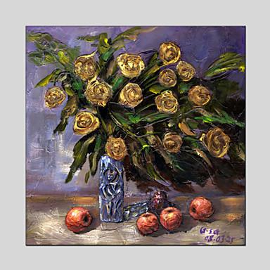 Pintados à mão Floral/Botânico Modern / Clássico / Tradicional / Realismo / Mediterrêneo / Pastoril / Estilo Europeu,1 Painel Tela