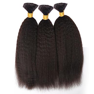 baratos Extensões de Cabelo Natural-3 pacotes Cabelo Mongol Liso 8A Cabelo Humano Ondulado Tramas de cabelo humano Extensões de cabelo humano / Reto