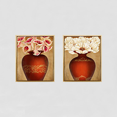 Handgemalte Stillleben / Blumenmuster/Botanisch Ölgemälde,Modern / Traditionell / Ländlich / Europäischer Stil Drei Paneele Leinwand