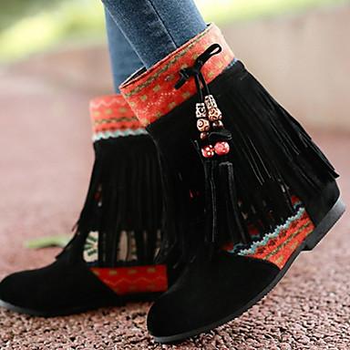 Sapatos Tecido Verão / Outono Botas Salto Baixo Botas Cano Médio Mocassim Preto / Amarelo
