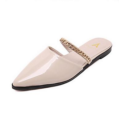 kvinners sko pu sommer tøfler / spisse Sandaler tilfeldige flate hæl andre rosa / sølv
