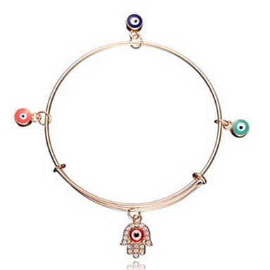 abordables Bracelet-Breloque Charms Bracelet Bracelet Jonc Femme Mauvais œil Bohème Mode Bracelet Bijoux Dorée Main de Fatma pour Quotidien Décontracté