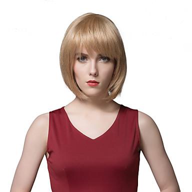 女性のためのエレガントなミディアムストレート人間の髪の毛はかつらをボブ