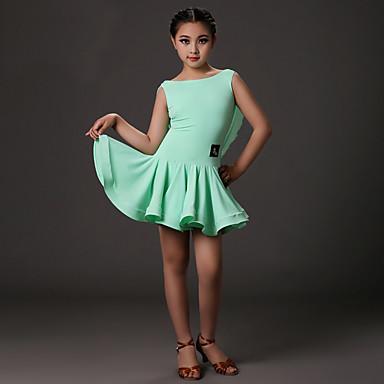 Latin Dans Kjoler Barne Trening Lycra Drapering Ermeløs Naturlig Kjole