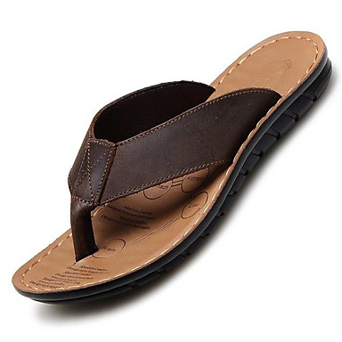 Hombre Cuero de Napa Primavera / Verano / Otoño Confort Zapatillas y flip-flops Negro / Marrón