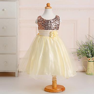 Χαμηλού Κόστους Ρούχα για Κορίτσια-Παιδιά Κοριτσίστικα Γλυκός Πριγκίπισσα Πάρτι Μονόχρωμο Φλοράλ Πούλιες Πολυεπίπεδο Αμάνικο Πολυεστέρας Φόρεμα Βυσσινί