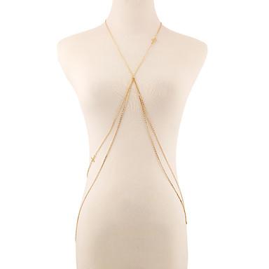 Bauchkette, Körper-Kette / Bauchkette Kreuz Europäisch, Doppelschicht, Bikini Damen Gold Körperschmuck Für Party / Alltag / Normal