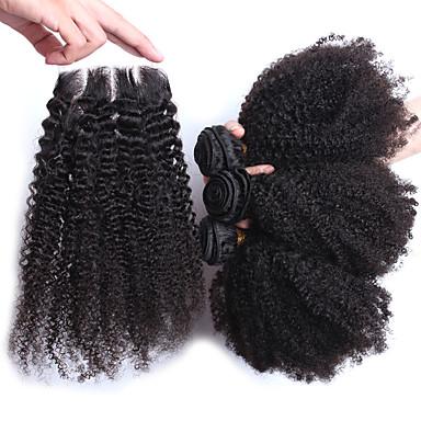 Trama do cabelo com Encerramento Cabelo Mongol Kinky Curly 12 meses 4 Peças tece cabelo