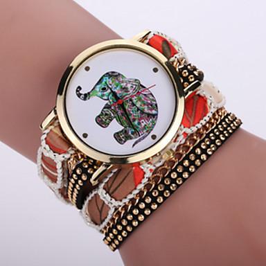 Damen Armbanduhr Armband-Uhr Modeuhr Quartz / Schlussverkauf Stoff Band Böhmische Cool Schwarz Weiß Blau Rot Rosa Lila