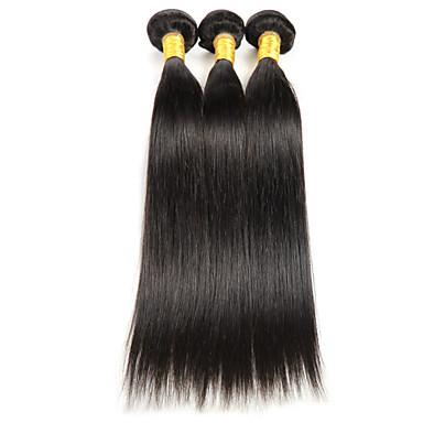 Menneskehår Vevet Indisk hår Rett 3 deler hår vever