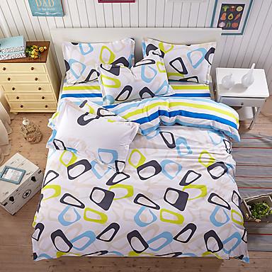 ensembles housse de couette couleur pleine 4 pi ces polyester coton imprim polyester coton 1. Black Bedroom Furniture Sets. Home Design Ideas